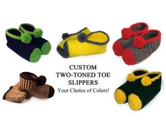 CUSTOM Two-Toned Toe Style Crocheted Slippers - YOUR CHOICE of Colors, Fun, Adults, Womens, Mens, Yellow
