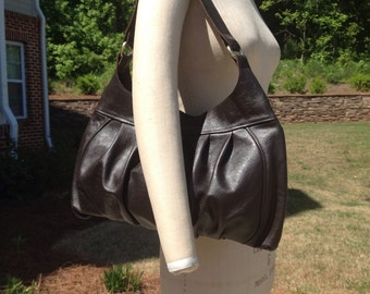 Large Pleated Leather Hobo Shoulder Bag