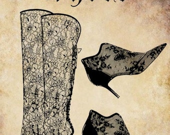 Victorian lace shoes boots clip art png file word text Digital graphics Image Download typography 1800s fashion