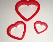 Valentine Cookie Cutters-  Heart Cookie Cutters - Plastic Heart Shaped - Graduating Sized Heart Cookie Cutters - Set of 3