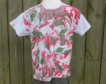 Toddler Shirt with Red and Green Marbled Shirt Stylish and Fun To Wear MM-BXS#1