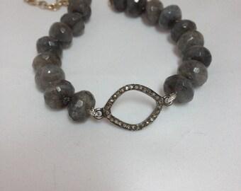 Pave Diamond Oval and Labradorite Knotted Bracelet