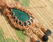Malachite teardrop green gemstone wire wrapped copper pendant large bail handmade jewelry