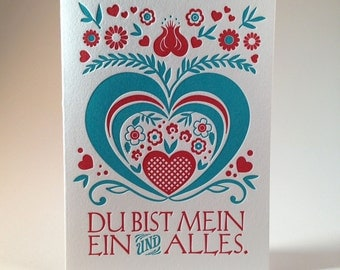 Letterpress German Love Card - Red and Bavarian Blue