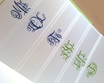 Sarcastic Monogram letterpress stationery set: Omg, Tmi, Btw, Lol, Fyi, Wtf- 12 pack