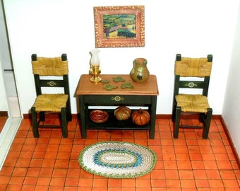 Dollhouse miniature hand-painted  wall table and chairs
