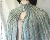 Hand Knitted Woman's Capelet, Ocean Greens Knitted Capelet, Knitted Soft Light Green Cape, OOAK