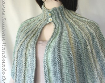 Hand Knitted Shawl Capelet, Ocean Greens Knitted Capelet, Knitted Soft Light Green Cape