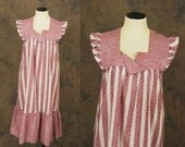 vintage 70s Dress - Boho Purple Striped Prairie - 1970s Hippie Tent Dress M