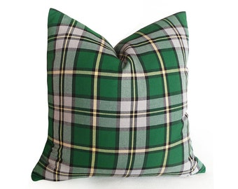 Green Grey Plaid Pillow Covers, Plaid Throw Pillow, Canadian Provincial Tartan Plaid, Cape Breton Island, Plaid Cushions, 18x18