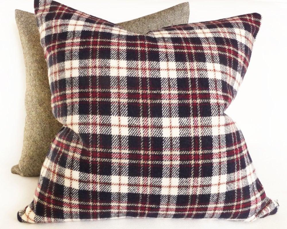 Wool Plaid Pillow Blue Red Cream Tartan Plaid Pillows 20x20