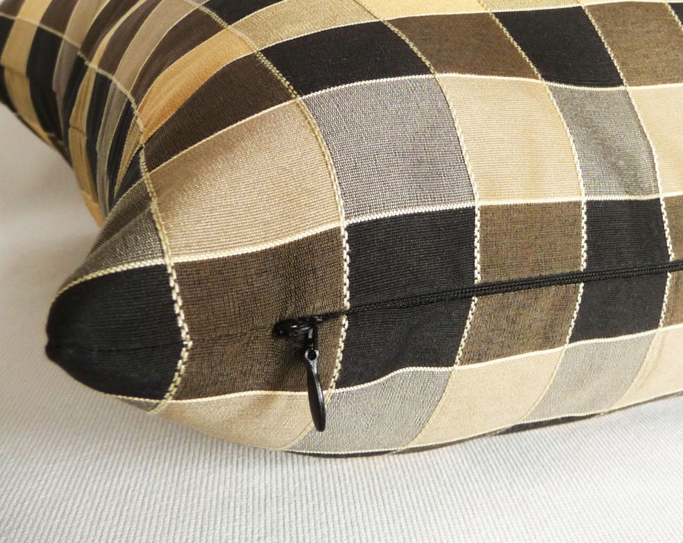 Modern Plaid Pillow : Modern Plaid Pillow Black Gold Pewter Metallic by PillowThrowDecor