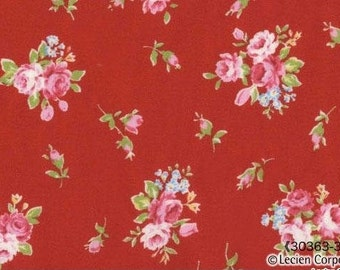 Japanese, Lecien, Flower Sugar, Fall 2011, Rose Bouquet in Red 30363.30 - 1/2 Yard Sale
