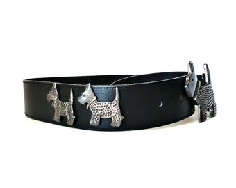 CHIPPIE French Vintage Black Leather Belt with Dog Charms Buckle