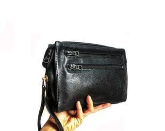 JOE French Vintage 70s Black Leather Wrist Bag