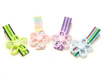 Flower Hair Clips, Set of 4 Flower Clippies, Preppy Stripes, Flower Clips for Girls, Lime, Pink Chevron, Blue, Purple, Spring Summer, Preppy