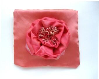 Lavender Sachet, Silk Accent Pillow, Silk Flower, 6 X 7, Boudoir Pillow, Handmade Pillow, Pink Silk Pillow, OOAK