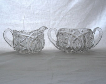 Antique EAPG Millersburg Sugar Bowl Creamer Set Ohio Star Pattern Antique Early American Pressed Glass 1909