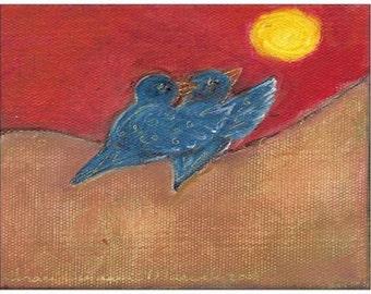 Bluebird Horse Folk Art 4x6 Postcards With Envelopes