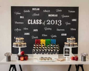 Black and White CHALKBOARD Graduation Party for kids Printable Backdrop - you print