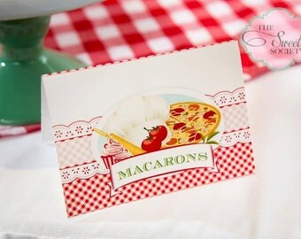 BAKING PIZZA PARTY Red Gingham printable tent labels