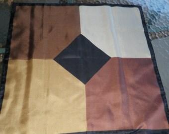 Vintage Ashear silk color blocked 18 inch scarf