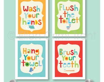 Kids Bathroom Decor- Kids bathroom art PRINT SET