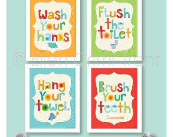 Kids Bathroom Decor- Kids bathroom Wall art/bathroom manners/ kids wall art/ nursery wall decor/wash your hands/ brush your teeth