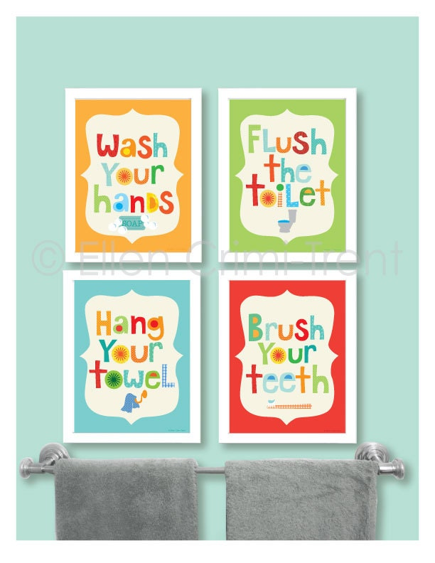 Kids bathroom decor kids bathroom wall art bathroom manners for Bathroom decor etsy