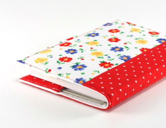 Fabric Journal - Cheerful Flowers With Polka Dots - Handmade Fabric Cover A6 Notebook, Diary - Blue, Red and Yellow Floral