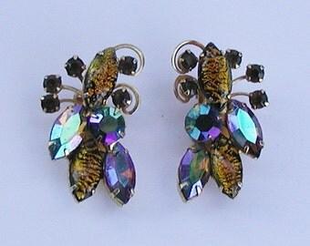 Beautiful Peacock Colors Vintage Earrings