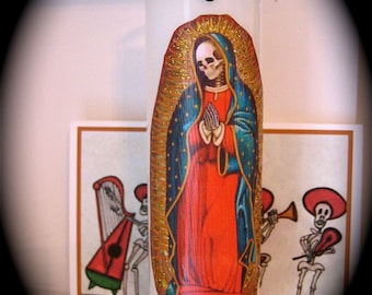 Day of the Dead GUADALUPE Prayer Candle- necessary altar supply