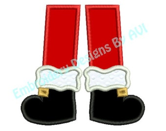 Applique Santa Claus Feet Christmas Embroidery Designs 4x4 & 5x7 Instant Download Sale
