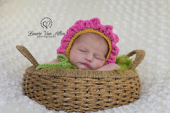 Newborn Crochet Flower Bonnet Ready to Ship