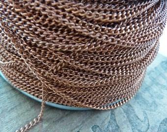 Chain Vintage Copper Steel Chain Flat Curb Chain Bulk Chain (5 Feet)