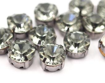 20 Ss45 Black Diamond Chaton Sew On Crystal Rhinestone Gunmetal Prong Setting 4 Hole Slider
