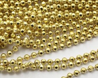 Brass Ball Chain, 20 M (1.5mm) Raw Brass Faceted Ball Chain - Ch005 ( Z032 )