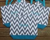 SALE... Custom CHEVRON tote bag with free personalization.  Velcro Closure. Bridesmaid tote bag.