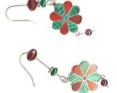 OOAK Nepal sterling silver charm earrings malachite coral carnelian flower