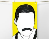 Freddie Mercury Tea Towel, Freddie Mercury Towel, Freddie Mercury Dishcloth, Freddie Mercury, Yellow Towel, Yellow Tea Towel, Rock Icon
