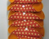 Yellow Polka Dots on Orange Regular Cloth and Bamboo Pad and Pantyliner Starter Pack