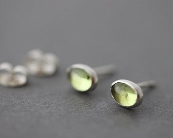 Sterling Peridot Earrings silver studs post earrings