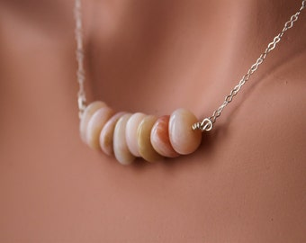 Pink Peruvian Opal Necklace - Sterling Silver - Bead necklace