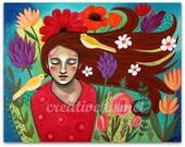 Listen - Girl in garden with birds - 11 x 14 Art print by Regina Lord
