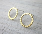 Lara Post Earrings - Small, gold silver plated minimalist round studs