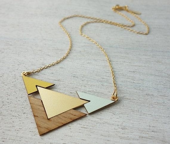 Fjord collier, bijoux en bois, design scandinave, goemetric pendentif, collier signature