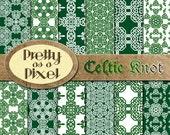 Digital Paper Pack - Celtic Knot - Scrapbooking Backgrounds - Set of 12 - INSTANT DOWNLOAD