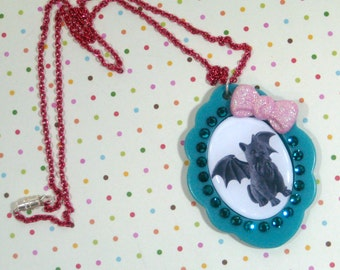 Cat Gargoyle Pendant Necklace Dark  Kawaii
