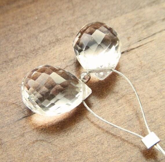 Clear White Crystal Quartz Micro Faceted Briolette Pair