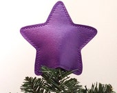 Metallic Vinyl Star Tree Topper Decoration in majestic purple